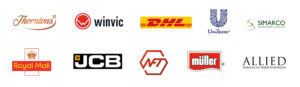 Thorntons. Winvic. DHL. Unilever. SIMARCO. Royal Mail. JCB. NFT. Muller. Allied Glass.