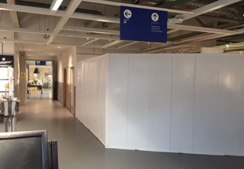Ikea internal hoarding for fit out contractors