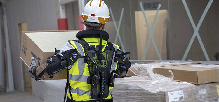 robotic ectoskeleton vest being demonstrated