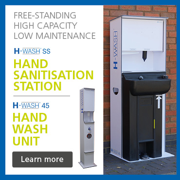 H-wash45 hand wash unit and H-WashSS hand sanitisation station