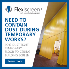 Flexiscreen is a temporary floor-to-ceiling building screen used to contain dust during temporary works within live environments