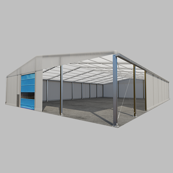 Temporary building structure with fast action door
