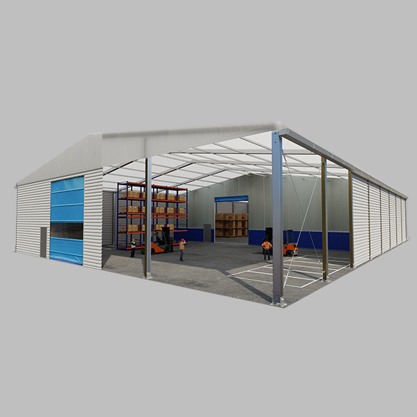 Temporary building with internal partitioning